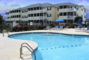 Relax at our private community pool after the beach! Our Rehoboth Beach Condo Rental's pool is EZ access from our 1st floor condo.