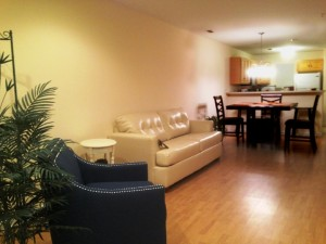 Our Rehoboth Beach Condo Rental features a spacious living room with a queen size sofabed that sleeps 2 guests.